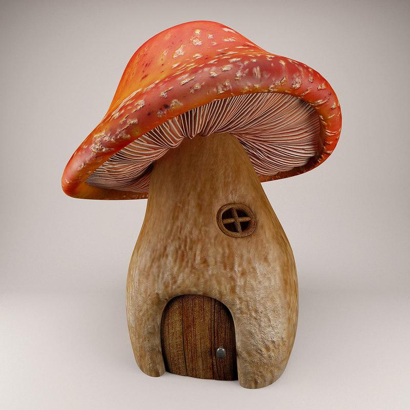3d model cartoon mushroom house