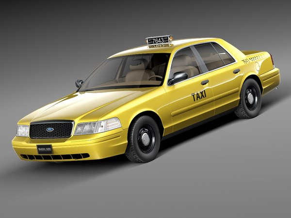 Ford Crown Victoria New York Taxi yellow cab 1998-2001 3D Models