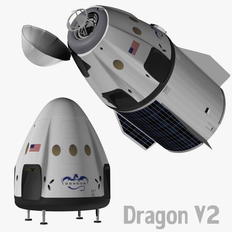 3d spacex v2 dragon model