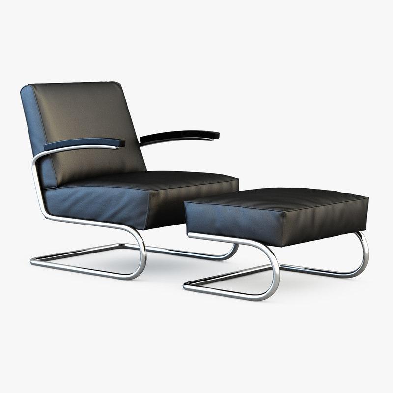 thonet s 411 3d model. Black Bedroom Furniture Sets. Home Design Ideas
