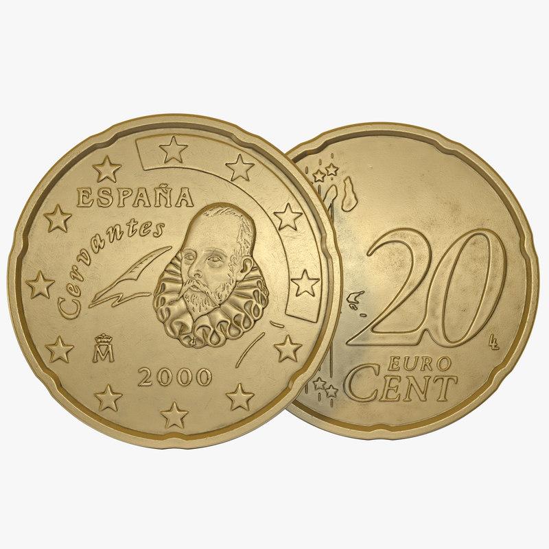 spain euro coin 20 3d c4d. Black Bedroom Furniture Sets. Home Design Ideas