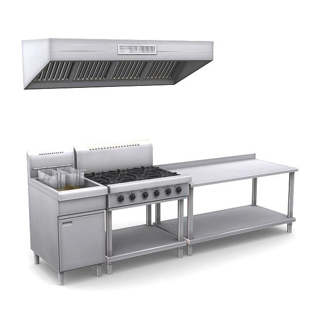 Industrial Kitchen Autocad Blocks: Fryer 3d Models