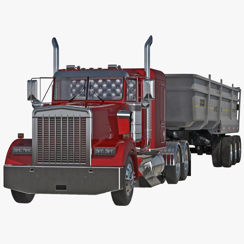 Semi Dump Trailer Truck
