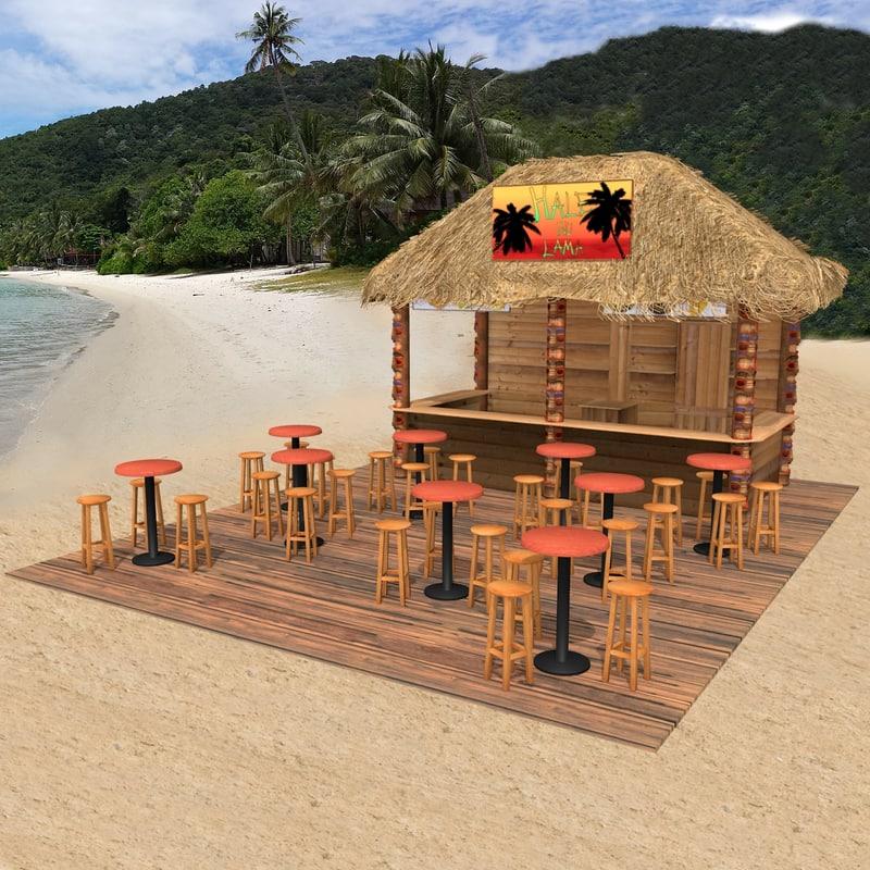 3ds max kiosk beach for Model beach huts