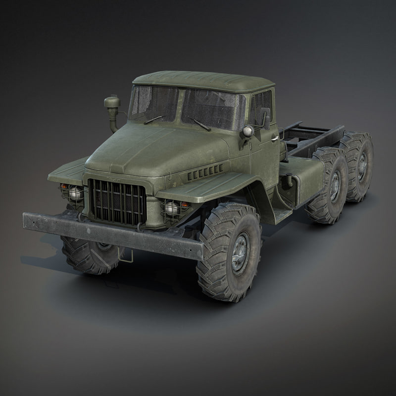 low poly ural 375 chassis 3d model