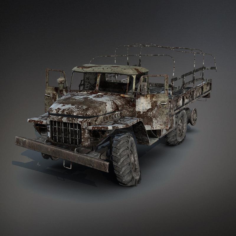Ural-375 Flatbed Burnt