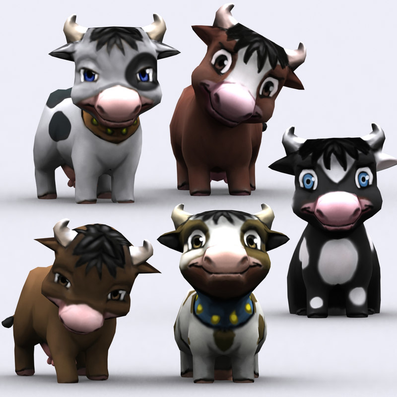 chibii   cow animals 3d 3ds
