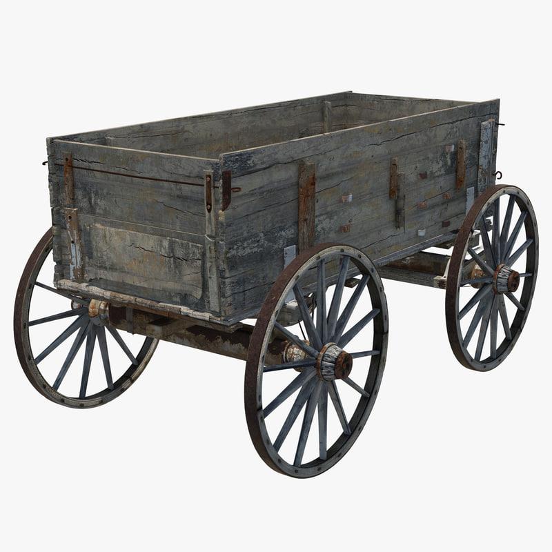 Old wooden Wagon 3d model 00.jpg