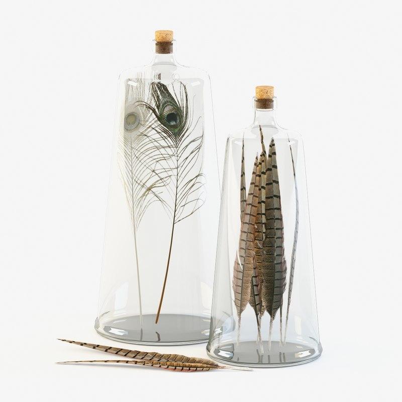 maya decorative bottles feathers