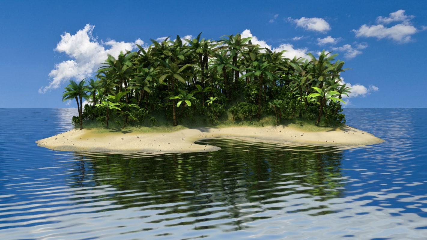 blender tropical island palm tree. Black Bedroom Furniture Sets. Home Design Ideas