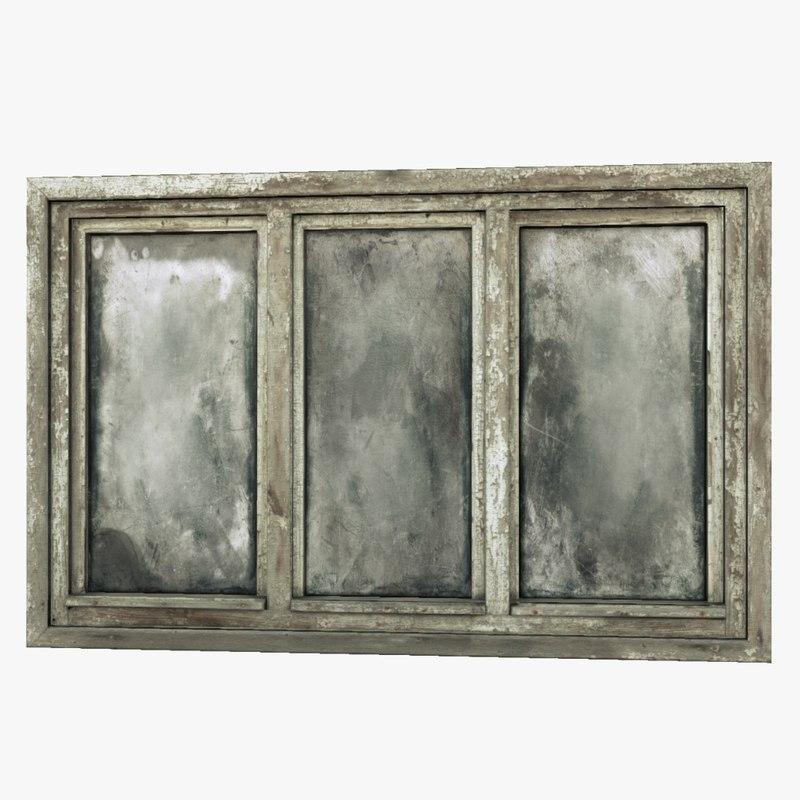 Old wooden window 3d obj for Window 3d model