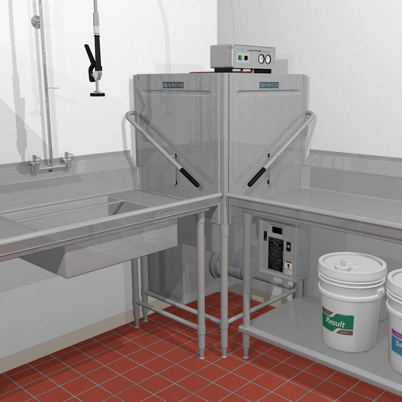 D restaurant dishwasher