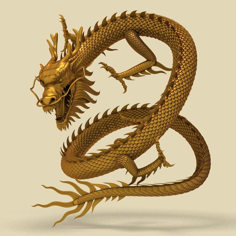 China Dragon: 3d Model Chinese Dragon