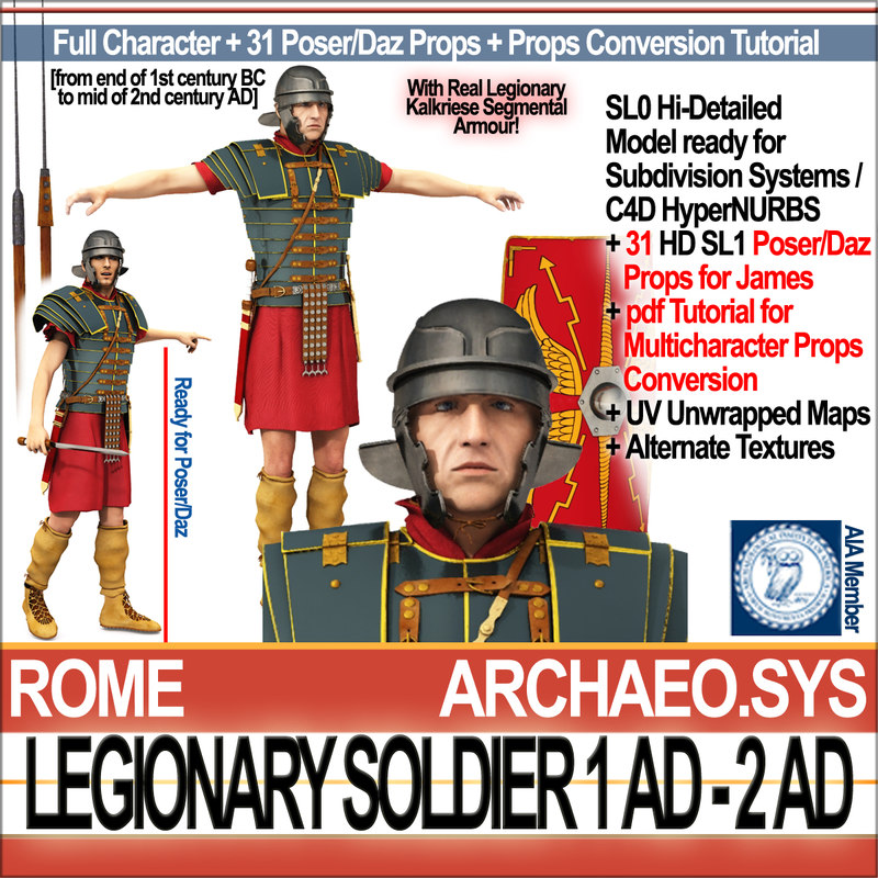 Ancient Rome Legionary Soldier 1 AD 2 AD with Poser Daz Props
