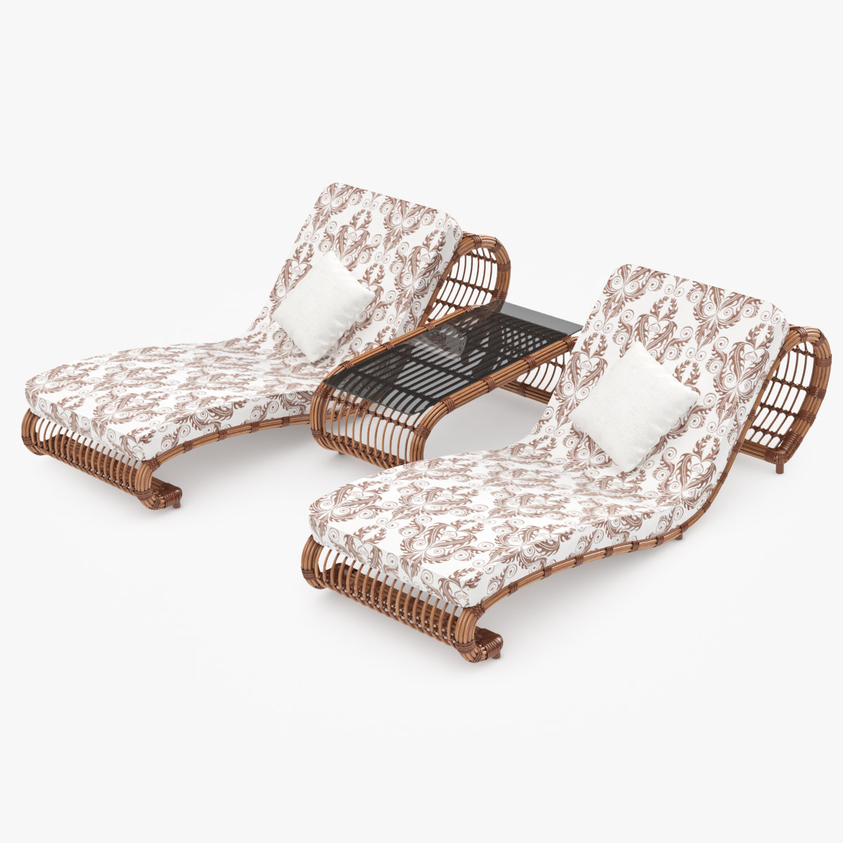 3ds max rattan lounger for Cane chaise longue