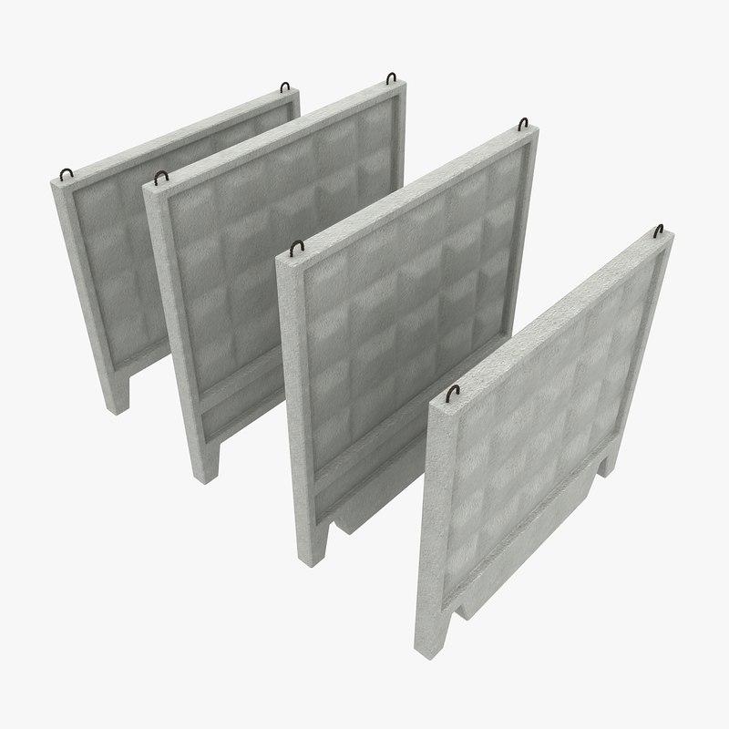 3ds concrete fences - Concrete fence models design ...
