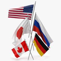 russian flag 3D models