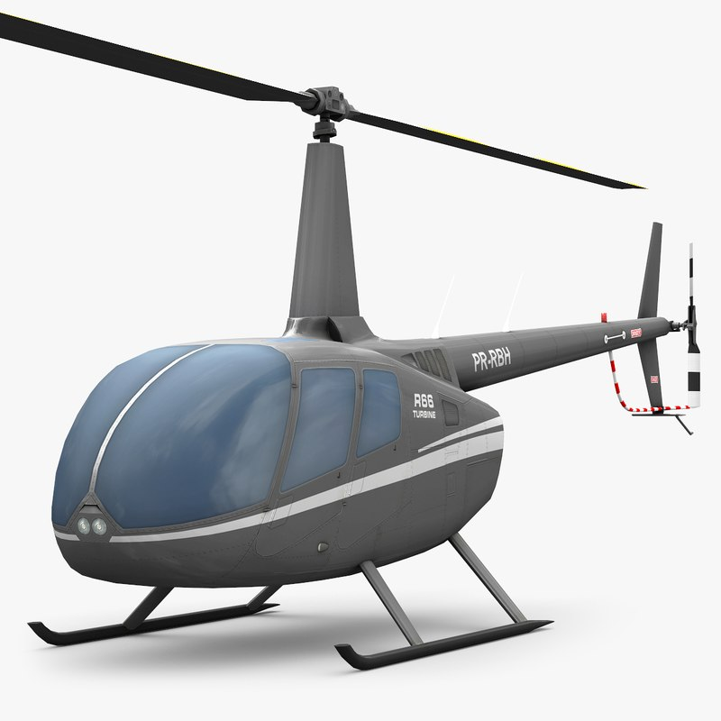 3ds max low poly robinson r66 helicopter