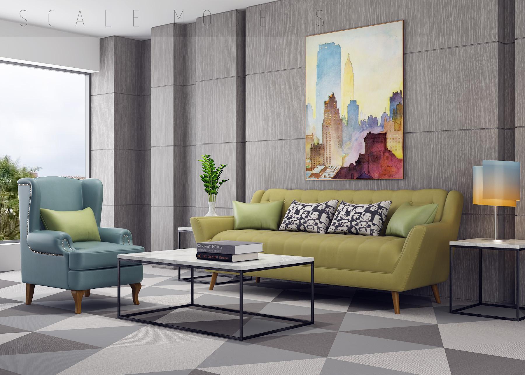 Modern living room 101 3d max for Living room 101