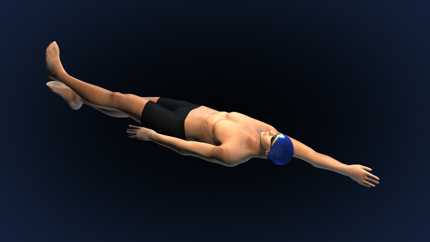 Swimming Man Back Style Riged&Animated;