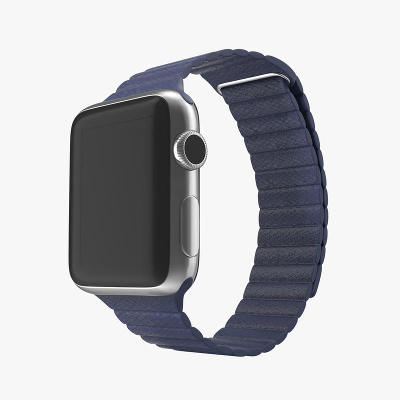 Apple Watch 38mm Magnetic Closure Blue Leather Loop 3d model 00.jpg