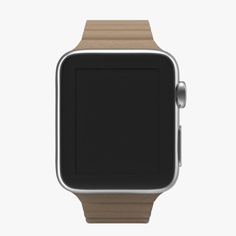 Apple Watch 38mm Magnetic Closure Brown Leather Loop 3d model 00.jpg
