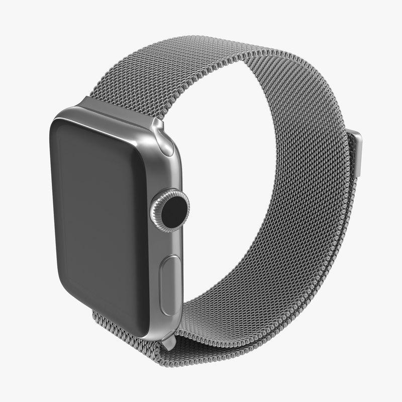 Apple Watch 38mm Milanese Loop 3d model 00.jpg