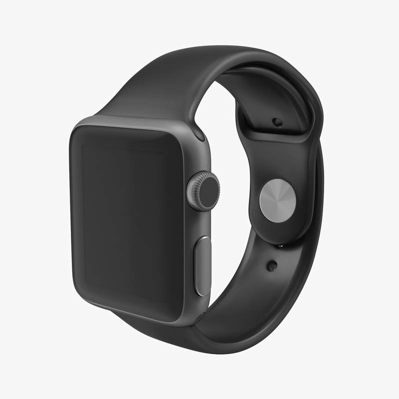 Apple Watch 38mm Fluoroelastomer Black Sport Band 3d model 00.jpg