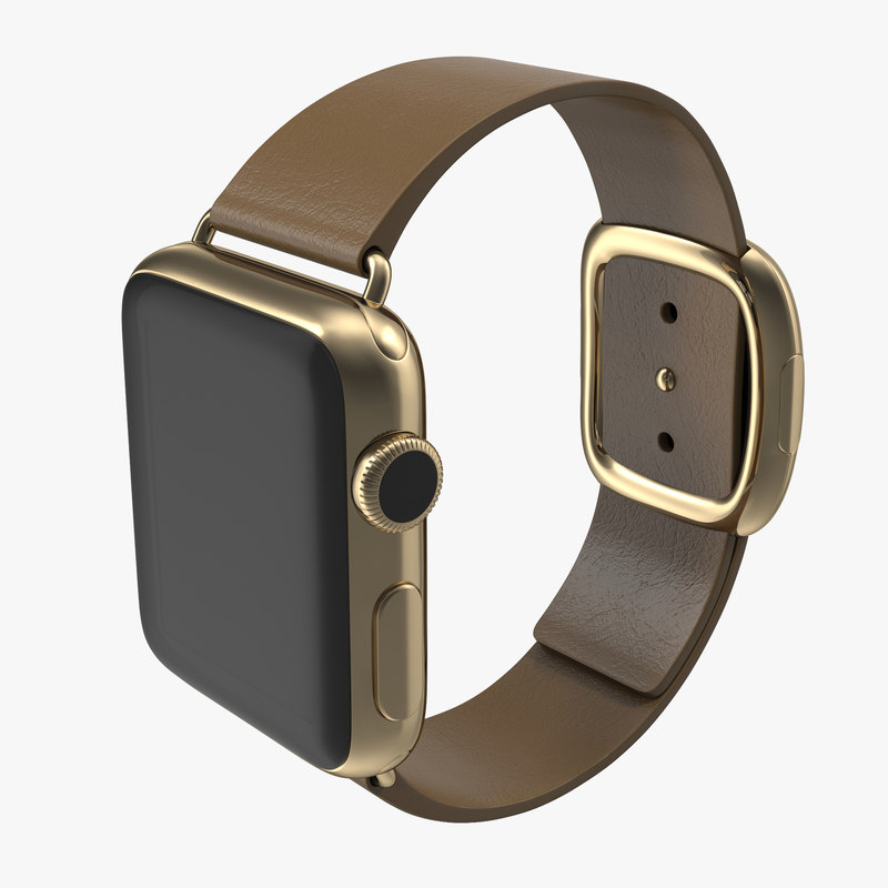 Apple Watch 38mm Gold Case with Brown Modern Buckle 3ds model 00.jpg
