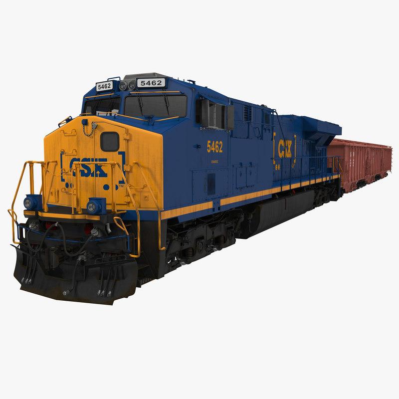 Train ES40DC CSX Blue And Covered Hopper Car 3d Model 00.jpg