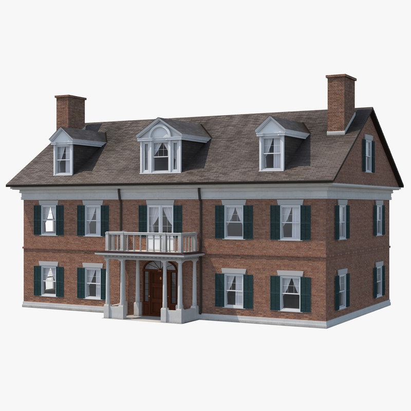 3d model colonial house build 3d house building