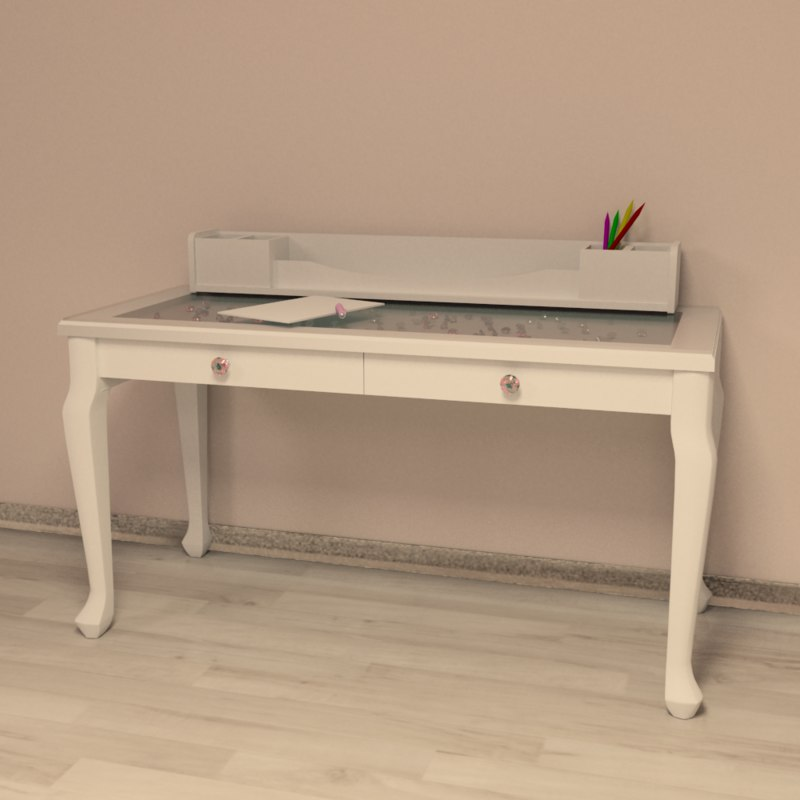 girls writing desk Finish: white complete desk system includes pda shelf, cpu shelf and letter file cart asymmetric design allows for left or right hand configuration.