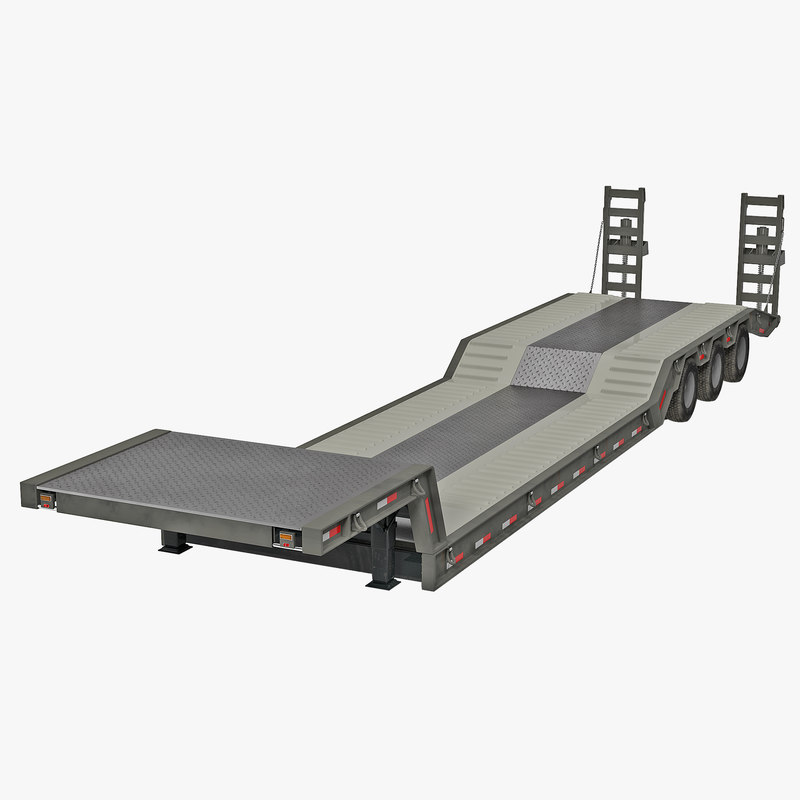 Double Drop Lowboy Tri Axle Trailer 3d model 00.jpg