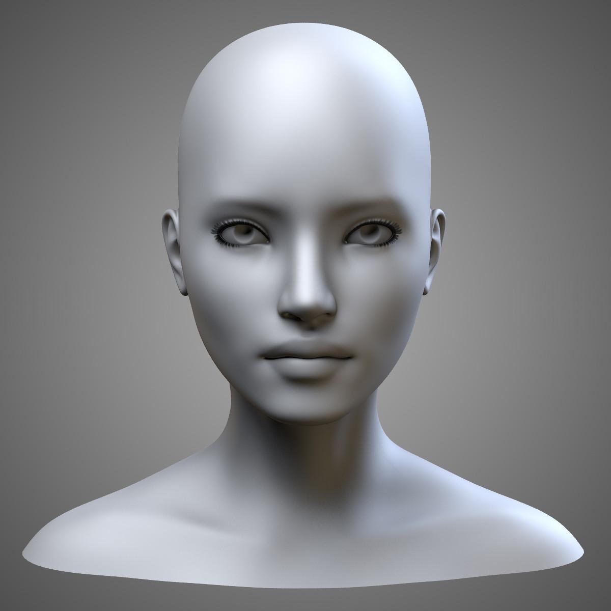 Female head 3d model for 3ds max face modeling