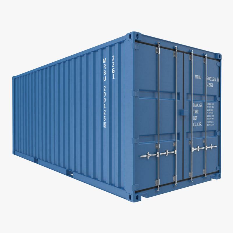 20 ft ISO Container Blue 3d model 00.jpg