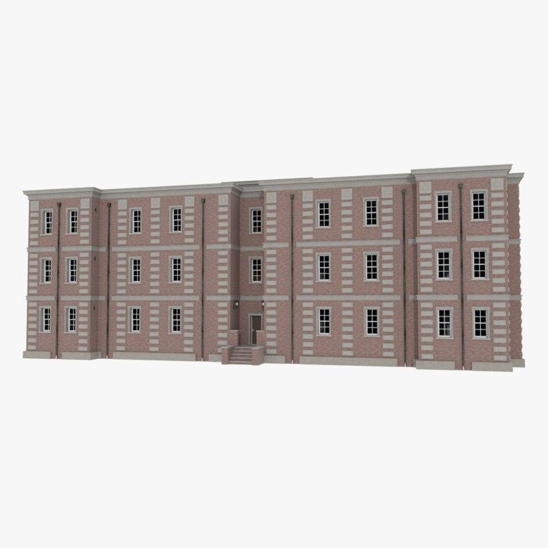 3ds max brick apartment building interior exterior