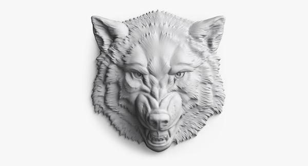 Wolf Head Bas-relief (Roaring) 3D Models