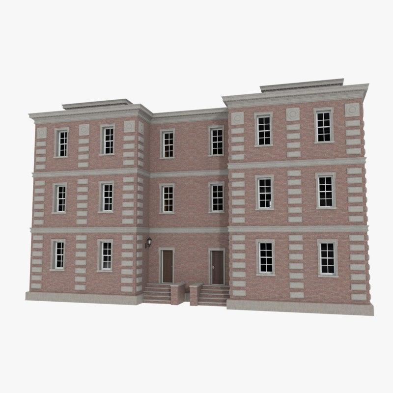 Cheap Apartments Outside Bricks: Brick Apartment Building Interior Exterior Obj