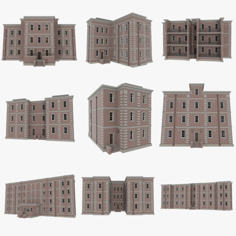 3dsmax set brick apartment buildings