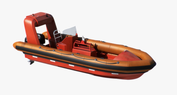 Rigid Inflatable Fast Rescue Boat 3D Models