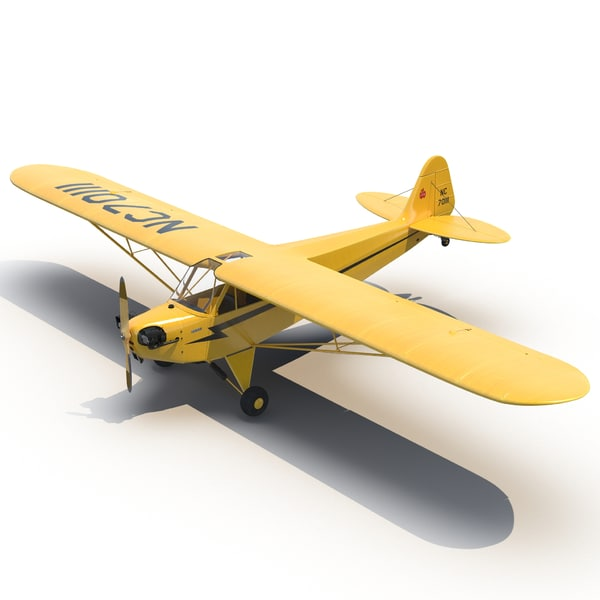 Light Aircraft Piper J 3 Yellow 2 3D Models