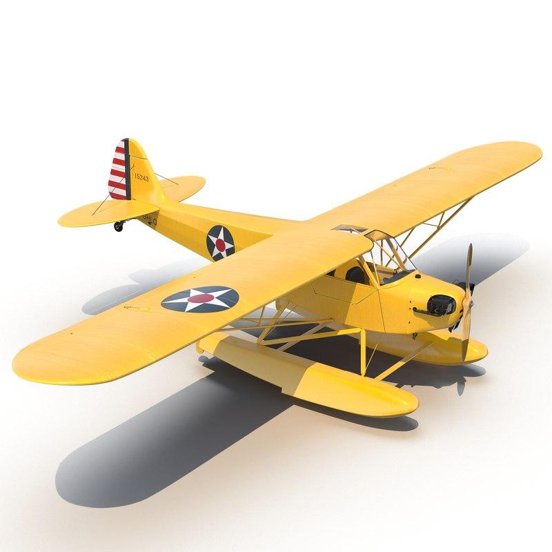 Light Aircraft Piper J 3 Cub Seaplane Yellow 3d model 01.jpg