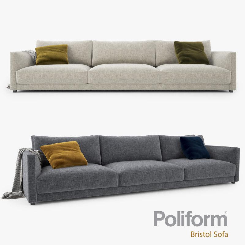 Modern living room interior 3ds max scene with all furniture 3d models - Poliform Bristol Seater Sofa 3d Max