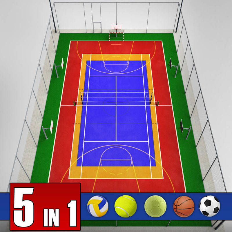 Multi sport court pack 3d max for Sport court size