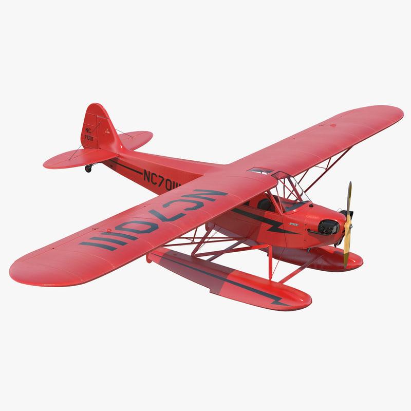 Light Aircraft Piper J 3 Cub Seaplane Red 3d model 00.jpg