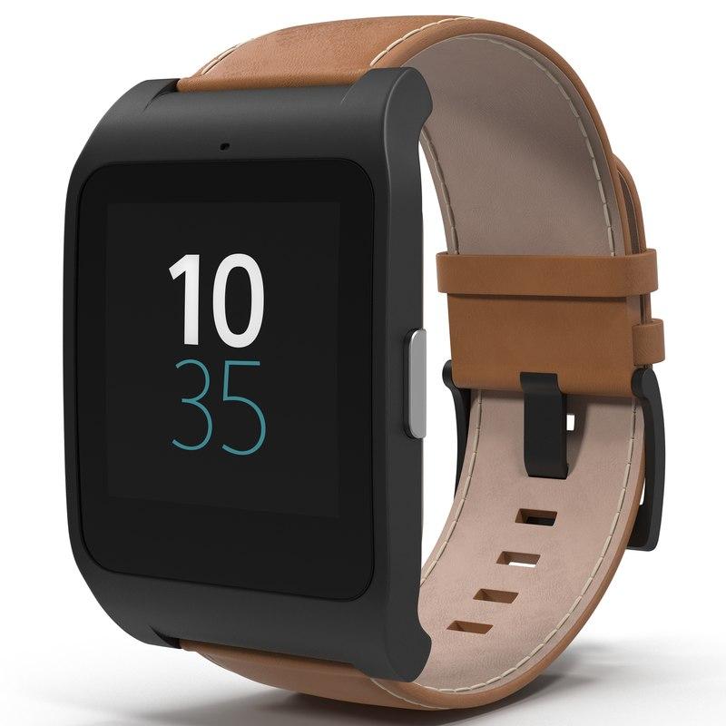 3d model sony smartwatch 3 leather. Black Bedroom Furniture Sets. Home Design Ideas