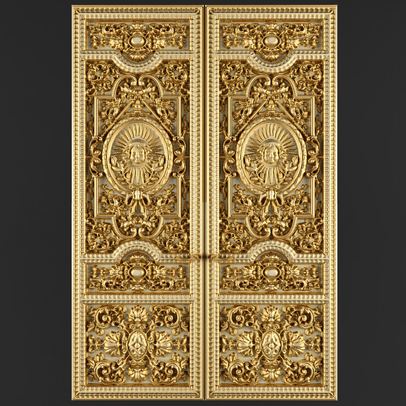 Max luxury classic baroque carved for Baroque glass door