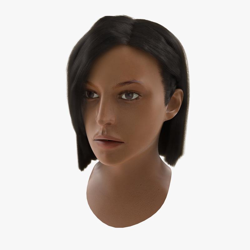Mediterranean Woman Head with Hair 3d model 00.jpg