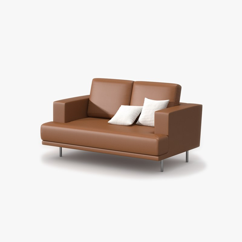 Double sofa tan leather 3d max for Sofa 4 meter