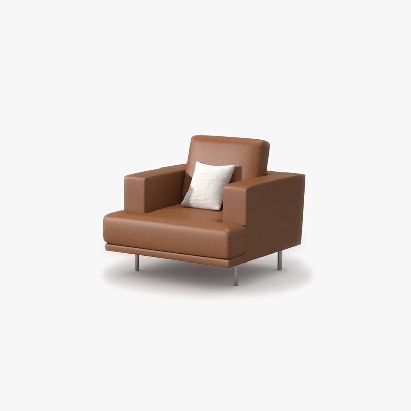 Single Sofa Tan Leather 3ds